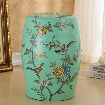 Beautiful Flower And Bird Design Porcelain Gard Stool For Indoor And Outdoor