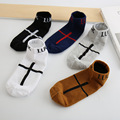 2016 new shallow mouth stealth cotton ship socks casual men socks 5 colored cross pattern socks free shipping