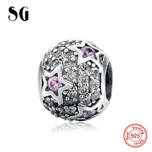 SG 925 Sterling Silver Round Charms with CZ DIY Craft Beads Fit Original pandora Bracelets pendant Jewelry factory beads supply цена