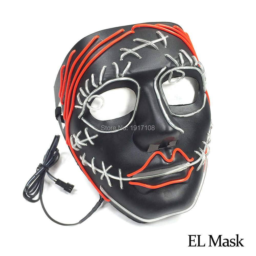 Горячий эль проволоки маска для событий вечерние поставок и Хэллоуин scteaming тема вечерние создано DC-3V холодный свет маска