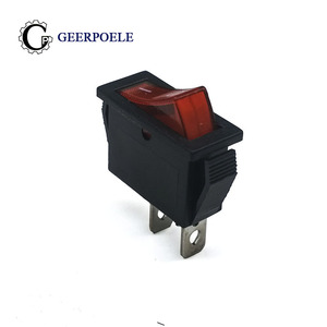 5pcs/lot KCD3 30*13mm Red LED SPST 2PIN 15A 250V Snap-in ON OFF Position Snap Boat Rocker Switch Copper