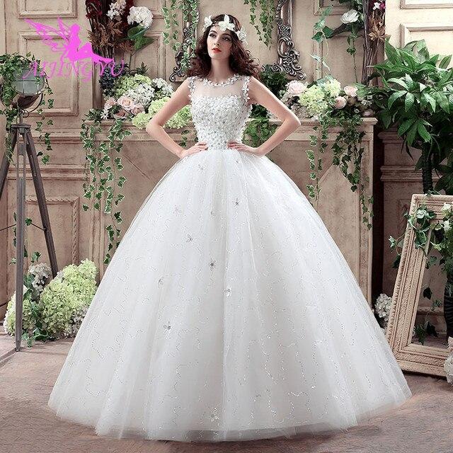 AIJINGYU 2021 أبيض جديد حار بيع ثوب كرة رخيصة الدانتيل حتى الظهر فساتين العروس الرسمية فستان الزفاف WK132