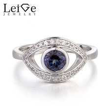 Leige Jewelry Color Changing Gemstone Lab Alexandrite Ring Wedding Rings Real 925 Sterling Silver Round Cut June Birthstone