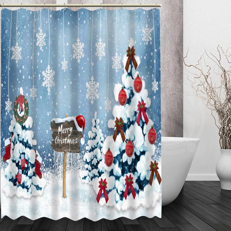 Merry Christmas Santa Claus Shower Curtain Bathroom Polyester Fabric /& 12hooks