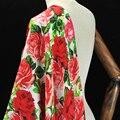 112 CM Breit 19 MM Rote Rose Floral Print Stretch Silk Stoff Gute für Frühling Sommer Kleid Rock Shirt Hosen j181|Stoff|Heim und Garten -