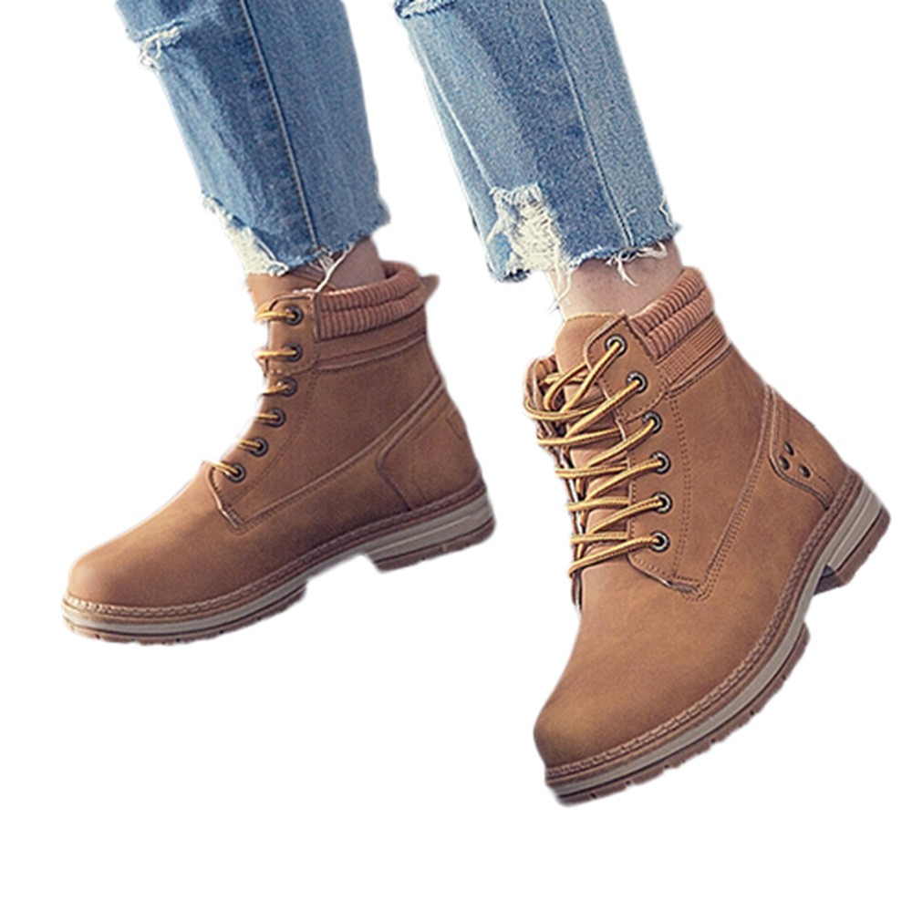 Women Boots Solid Lace Up Casual Ankle Boots Round Toe Shoes Student Snow Boots Classic Winter Warm Ladies Shoes T## 16
