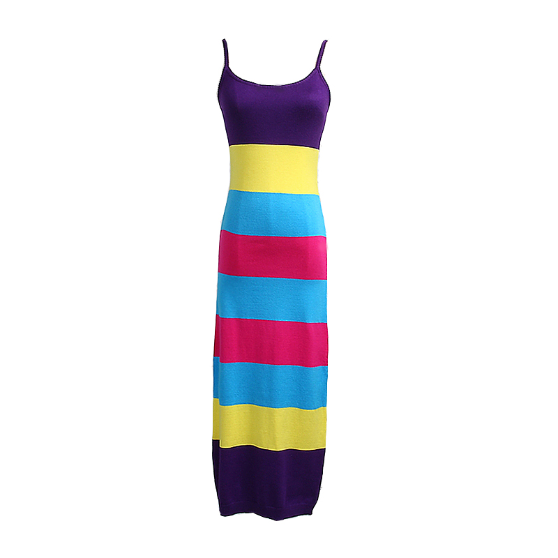 [alphalmoda]-summer-women-new-striped-dress-hit-color-pullovers-knitted-sundress-long-mid-calf-female-summer-sheath-dress