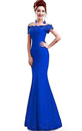 Misshow Русалка вечернее платье Розовое Кружевное длинное вечернее платье Элегантное с открытыми плечами без рукавов robe de Soiree - Цвет: Royal blue