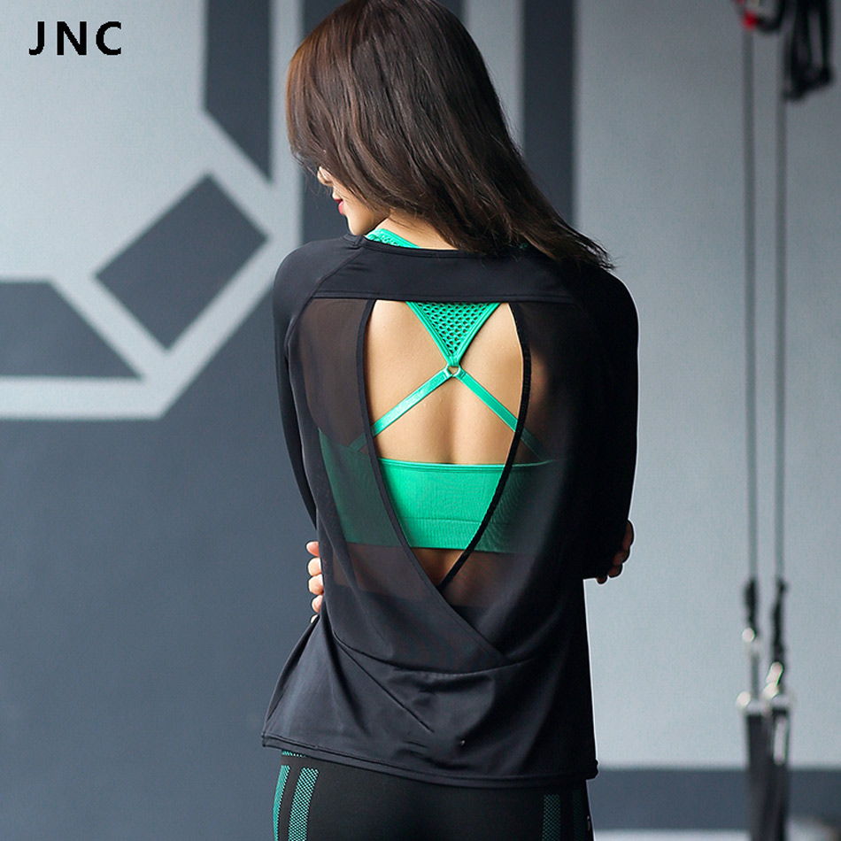 JNC Backless Cross Sports T-Shirts Women Long Sleeves Back Cut out Yoga Shirts Running Sportswear Mesh Yoga Tops Gym Clothes grey crossed front design cut out long sleeves t shirt