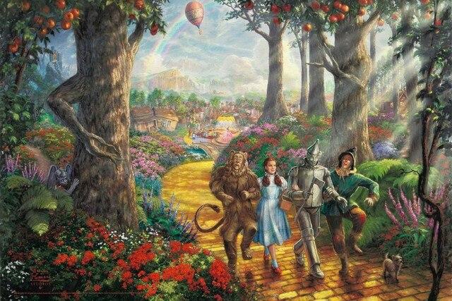 Follow Yellow Brick Road Wizard Of Oz Painting Film Fan Flower