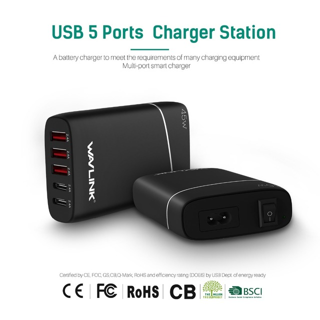 Wavlink USB 3 + 2 Зарядное Устройство HUB Station/Desktop 4-портовый Путешествия быстрое Зарядное Устройство Адаптер Питания для Samsung Galaxy телефон iPad USB C
