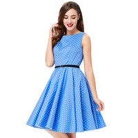 50s Rockabilly Dress Summer Style 2016 Women Tunique Femme Polka Dot Floral Printed Retro Vintage Big
