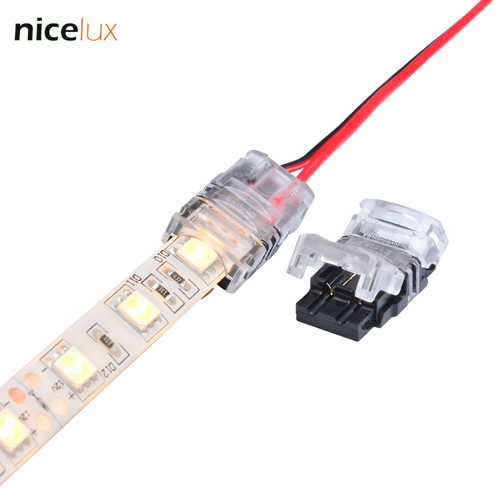 5pcs 2pin LED Strip to Wire Connector for 10mm Single Color IP65 Waterproof SMD 5050 5630 LED Tape Light Connection Conductor 10pcs lot led strip connector terminals for led strip 5050 10mm 2pin connectors for led tape 5050 fast and free soldering