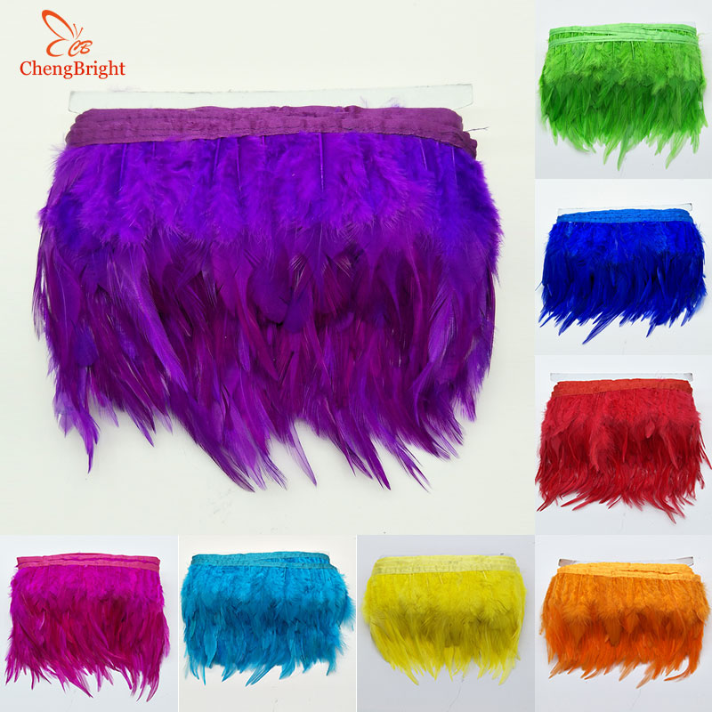 CHENGVRIGHT 1 Meter 10-15CM Chicken Cock Feathers Trim Cloth Sideband Rooster Tail Feather Trims Clothing Wedding Decoration(China)