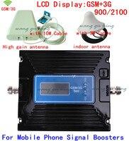 Новые Dual Band усиления Регулируемая GSM 900 мГц + 2 г 3g W CDMA 2100 мГц сотовый телефон усилитель сигнала усилитель ретранслятора антенны + кабель