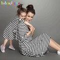2017 meninas do bebê vestido de verão da família roupas combinando clothing stripe moda mãe e filha se veste mommy and me roupas bc1031