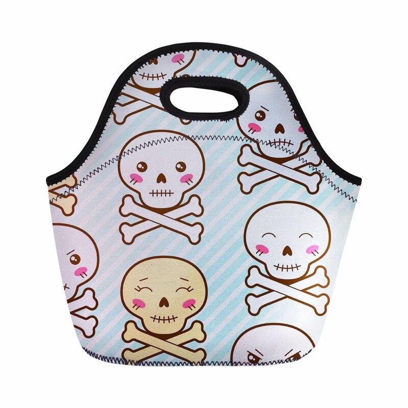 حار مخصصة الكرتون الجمجمة معزول القطن الكتان الغداء حقيبة الحرارية الغذاء نزهة حقيبة يد للنساء الاطفال برودة حقيبة حفظ الطعام