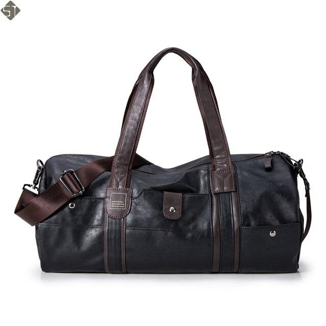 f469681c57d1a Luksusowe mężczyźni torby podróżne rocznika markowe torebki skórzane duże  mężczyźni biznes torba na bagaż 2019 nowych