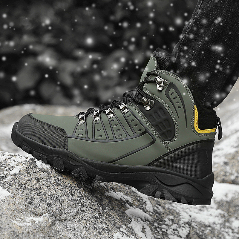 Winter Males Sneakers Waterproof Heat Fur Lace Up Informal Ankle Boot Excessive High Leather-based Style Mens Snow Boots Man