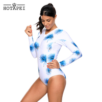 Hotapei Retro Monokini Blue Dandelion Print White Long Sleeve One Piece Swimsuit L410483 Women Sexy Swimsuit
