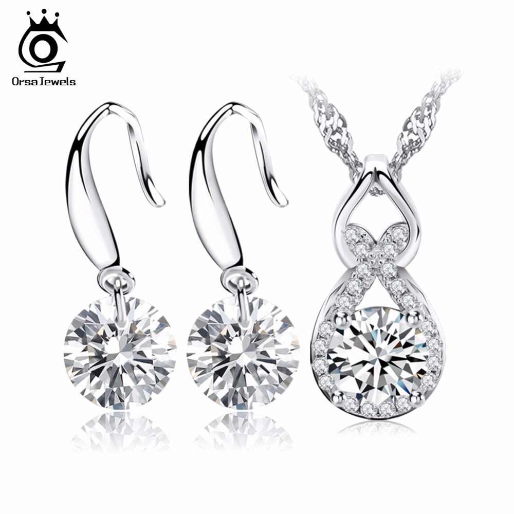 ORSA JEWELS Crystal Jewelry Sets,Luxury Naked Crystal Earring & Necklace Sets Silver Color OS25