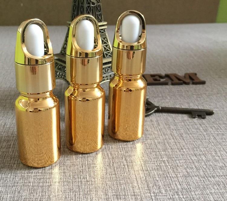 essentical 10 ml pequeno conta-gotas de vidro cor de ouro atacado