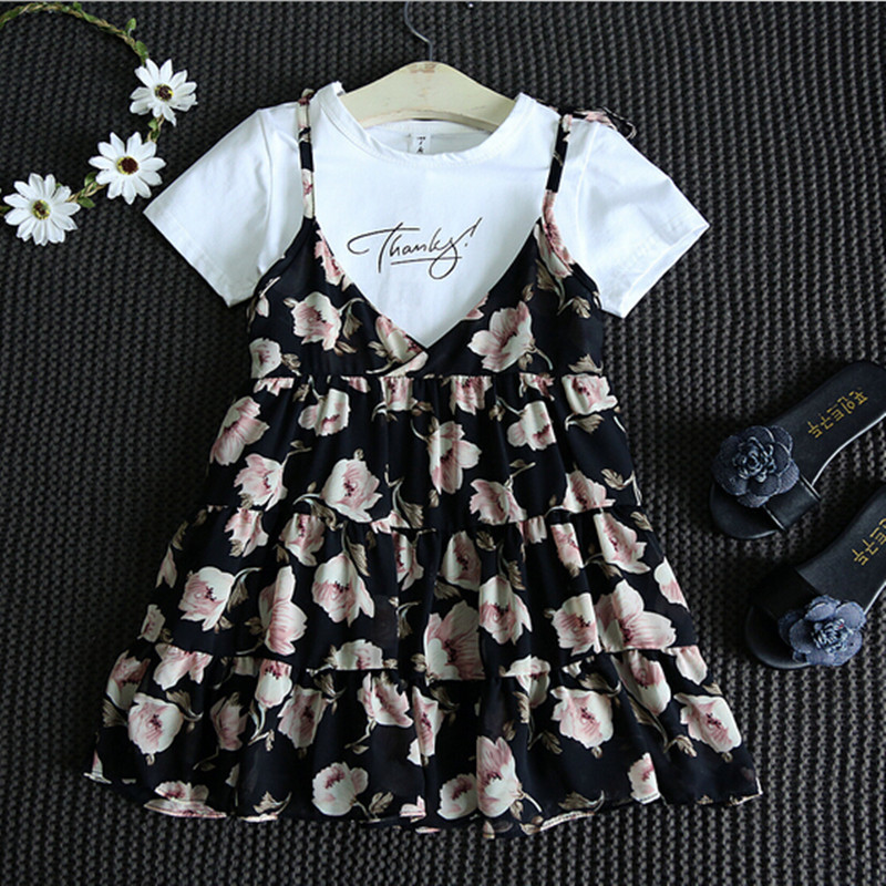 Children Clothing Sets Spring summer Baby Girl print Flower Clothes Sets A short-Sleeved T-shirt+Braces skirt Chirstmas Outfits