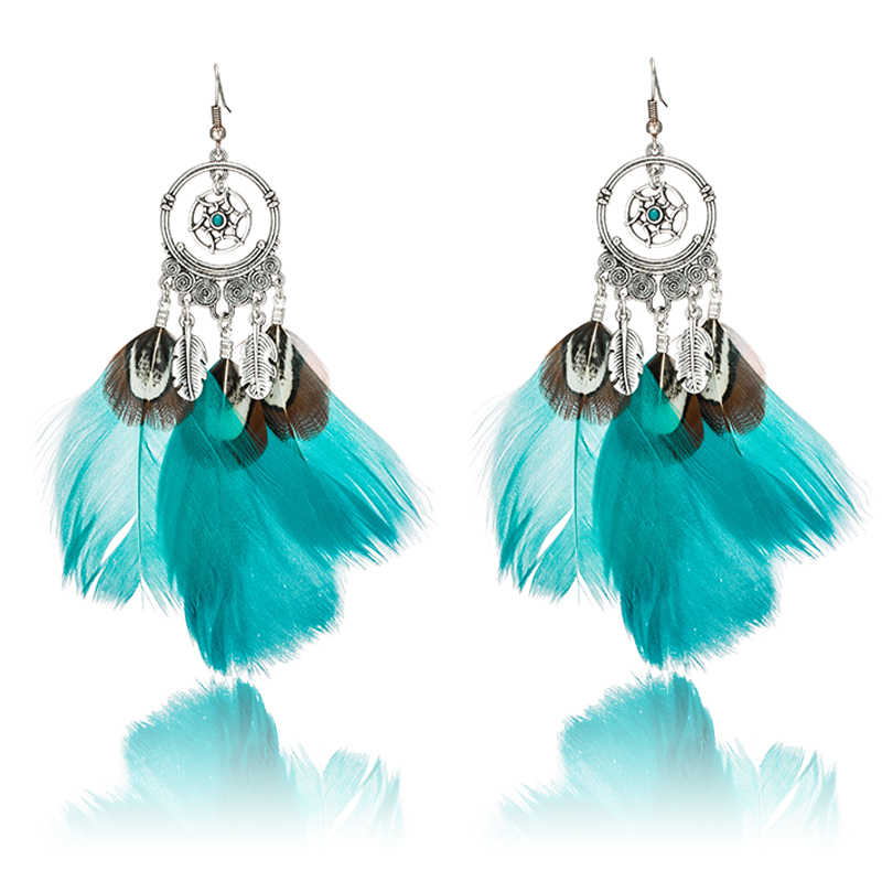 Women natural feather ethnic charm pendant hanging drop earrings, 2017 women fashion jewelry party wedding earrings