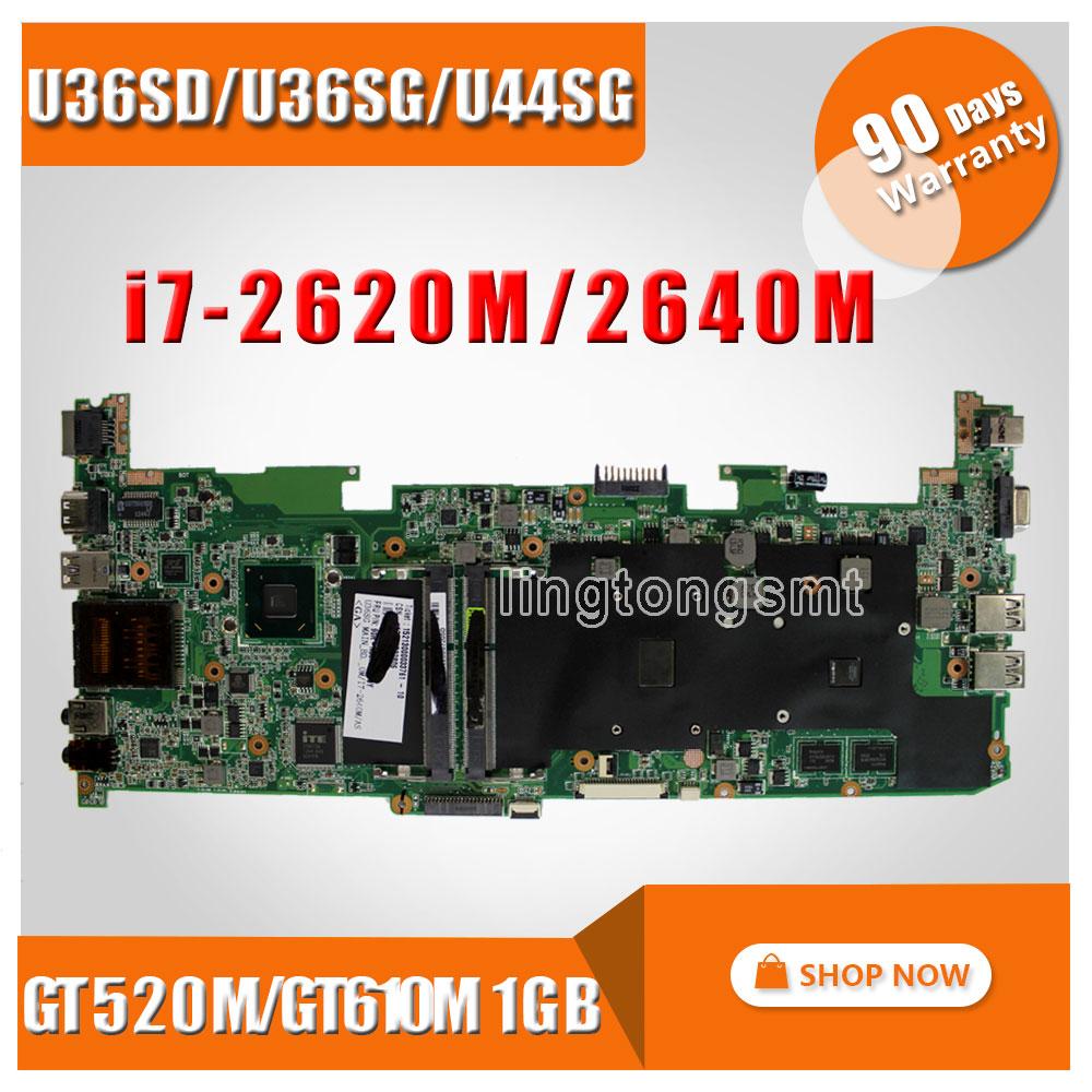 FOR ASUS U36SD U36SG U44SG motherboard with I7-2620/2640 CPU laptop motherboard REV 2.1 GT610/GT520 1G 100% Tested p552sj for asus p552s p552sj pro552sj laptop motherboard rev 2 0 motherboard 100% tested motherboard