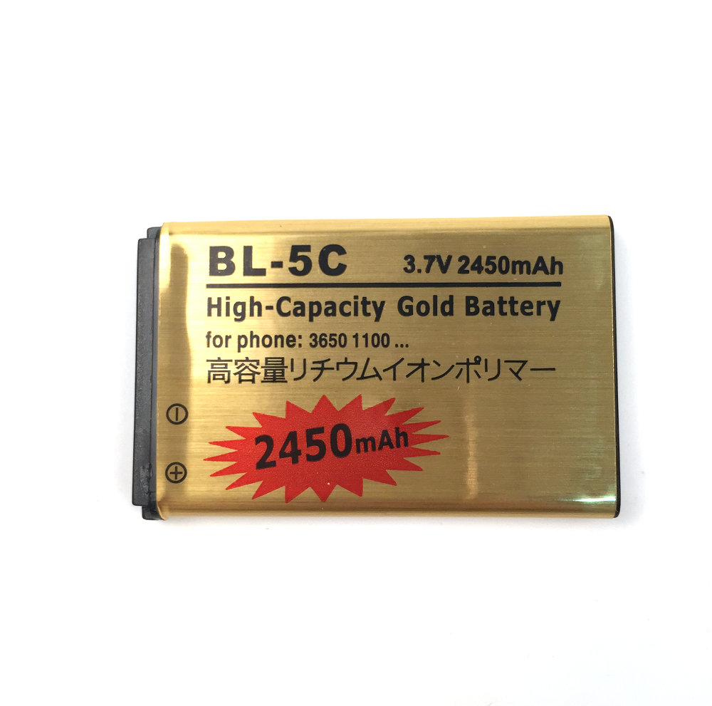 2PC/Lot, 2450mAh Gold BL-5C Battery for <font><b>Nokia</b></font> 1100 1200 <font><b>1650</b></font> 2300 2310 2600 2610 3100 3120 3650 5130 6030 6600 6263 6230 6630 image