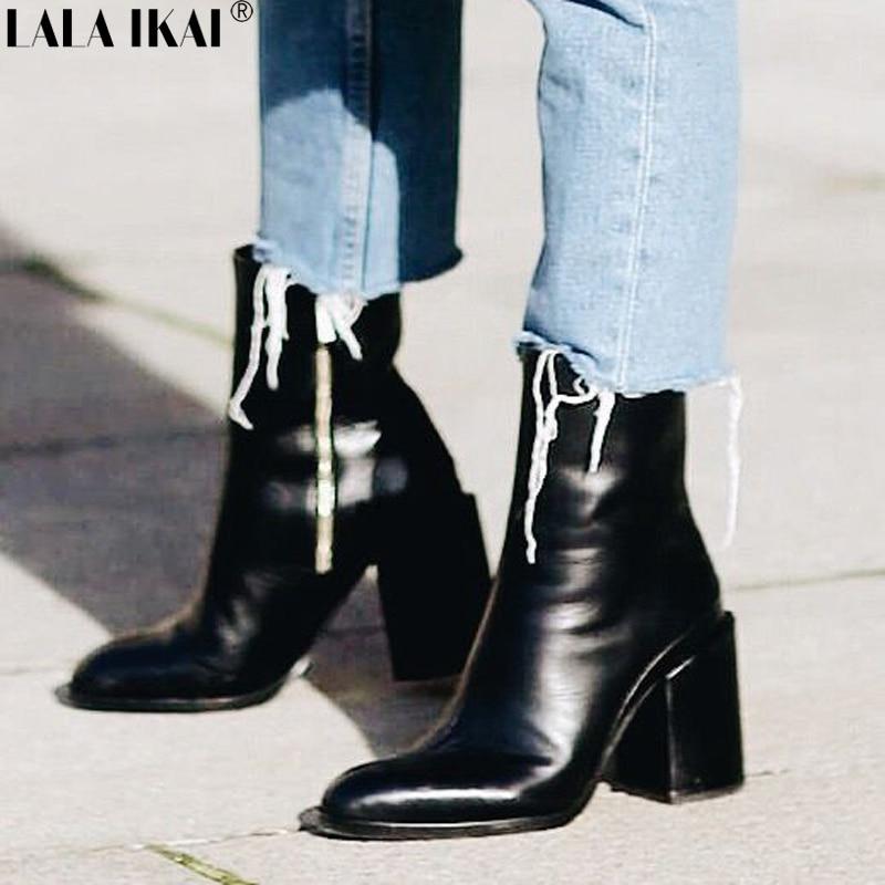 LALA IKAI Women Boots Spring Autumn PU Leather Ankle