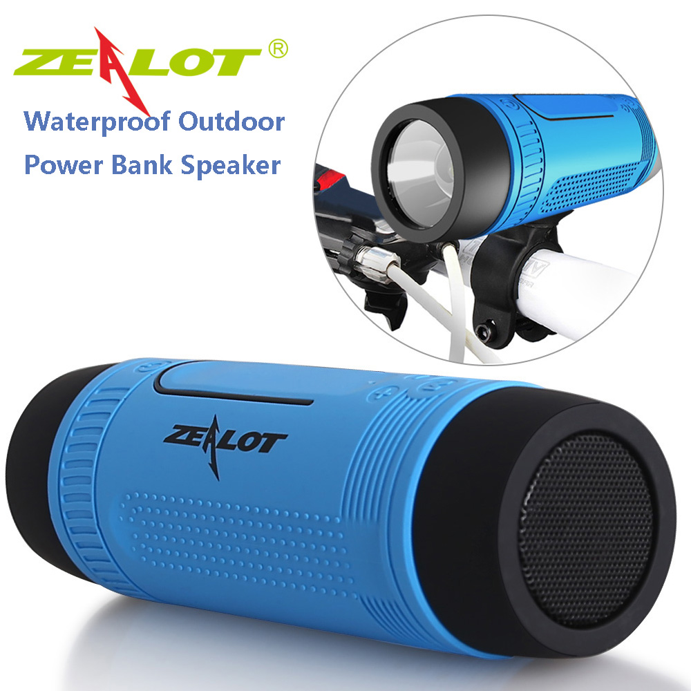 Zealot S1 Bluetooth Speaker Outdoor Bicycle Portable Subwoofer Bass Wireless Speakers Power Bank+LED light+ Bike Mount+Carabiner good quality zealot s1 bluetooth power bank speaker and 4000mah led light for outdoor sport and 3in 1 function