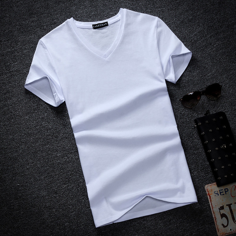 Fashion Summer Men   T     Shirt   Cotton V Neck Short Sleeve Fitness Tshirt Solid Men Tee Tops Casual Mens Streetwear Plus Size S-5XL