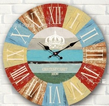 New 34cm silent decorative vintage wooden wall watch rustic large wall clock art roman number kitchen
