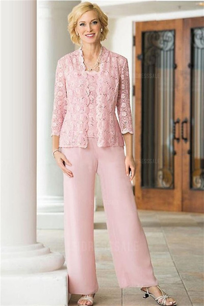 Pink Mother Of The Bride Pant Suits With Jacket Three Pieces Chiffon Lace Applique Plus Size Mother Of Groom Dress For Wedding