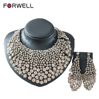 FORWELL Two Sets Of Jewelry Set Necklace And Earrings For Party Gold Set India Jewelry Austrian Crystal Africa