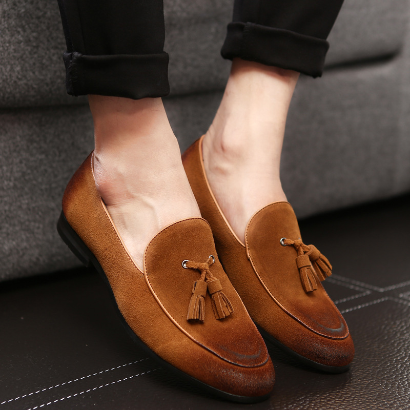 470c77a89b043 US $27.68 49% OFF|Stephoes Luxury Brand Men Fashion Loafers Genuine Leather  Spring Autumn Retro Slip on Pointed Toe Red Gray Sneakers Size 37 46-in ...