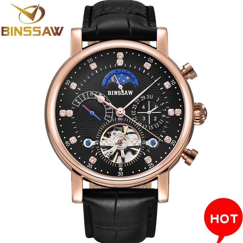 Men Automatic Mechanical Wrist Watch Luxury Brand Fashion Sports Leather Moon Phase Calendar Week Watches Relogio MasculinoMen Automatic Mechanical Wrist Watch Luxury Brand Fashion Sports Leather Moon Phase Calendar Week Watches Relogio Masculino