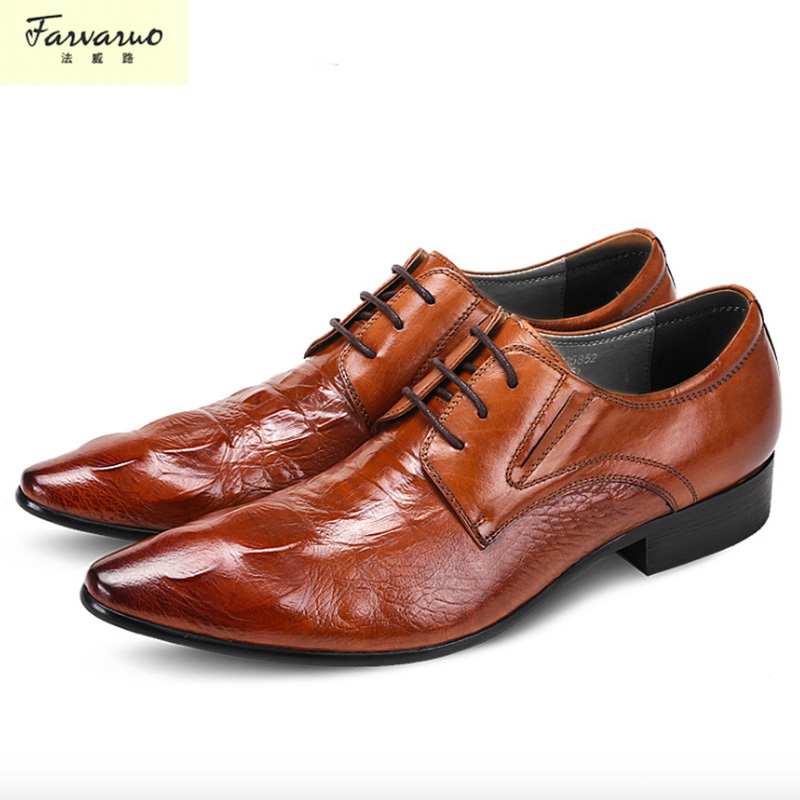 Genuine Leather Mens Dress Shoes, High Quality Oxford Shoes For Men, Lace-Up Business Men Shoes, Brand Men Wedding Shoes top quality crocodile grain black oxfords mens dress shoes genuine leather business shoes mens formal wedding shoes