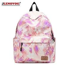 Girls Canvas Floral Printing backpack Women Pink Cute Waterproof Travel Rucksack Big Korean New 16 inch High School Backpack Bag