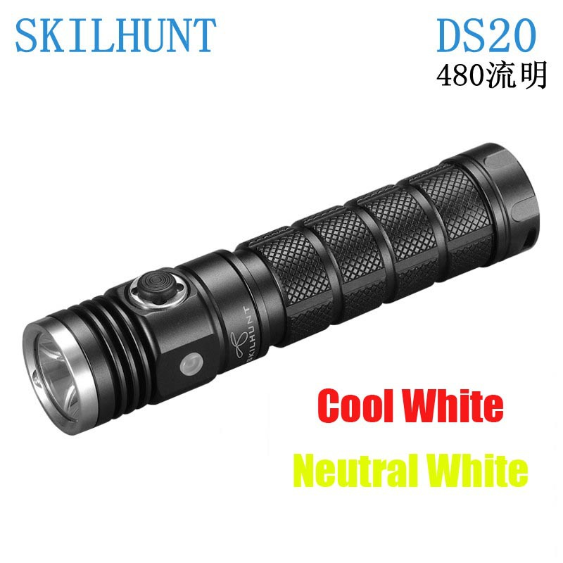 New arrived Skilhunt DS20 Led flashlight CREE XM-L2 480 Luems EDC camping Torch compatible with 18650 16340 CR123A 3800 lumens cree xm l t6 5 modes led tactical flashlight torch waterproof lamp torch hunting flash light lantern for camping z93