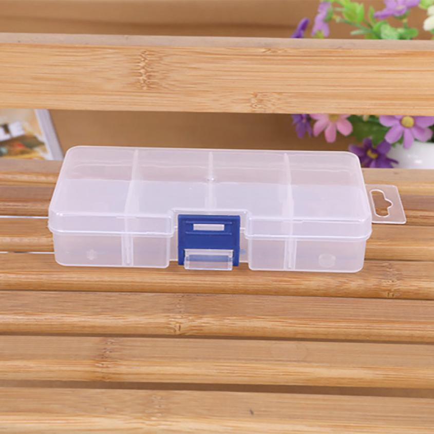 8 Grids Compartments Plastic Transparent Organizer Jewel Bead Case Cover Container Storage Box for Jewelry Pill Wholesale 40p ...