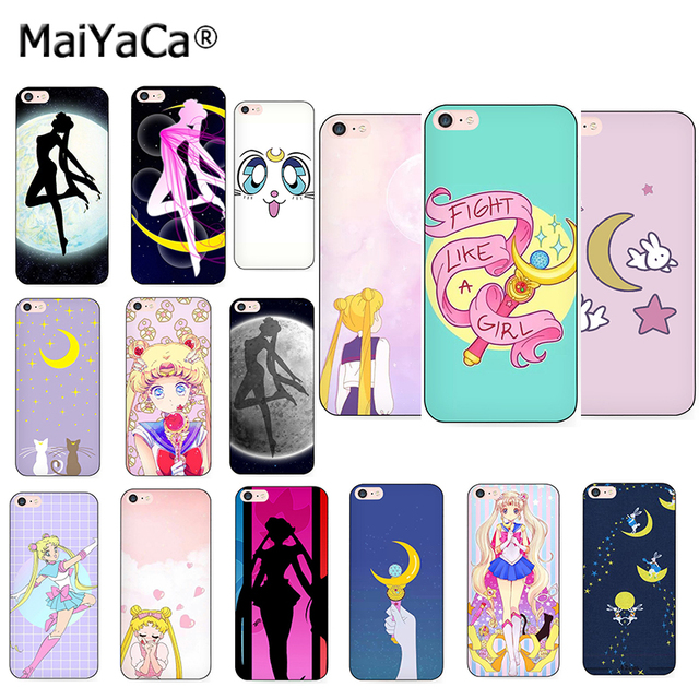 huge selection of a33a9 b6626 US $1.47 33% OFF|MaiYaCa girl Sailor Moon Anime Black Soft TPU silicone  Phone Case Accessories Cover Fundas For iPhone 5s 6s 7 plus 8 plus X  case-in ...