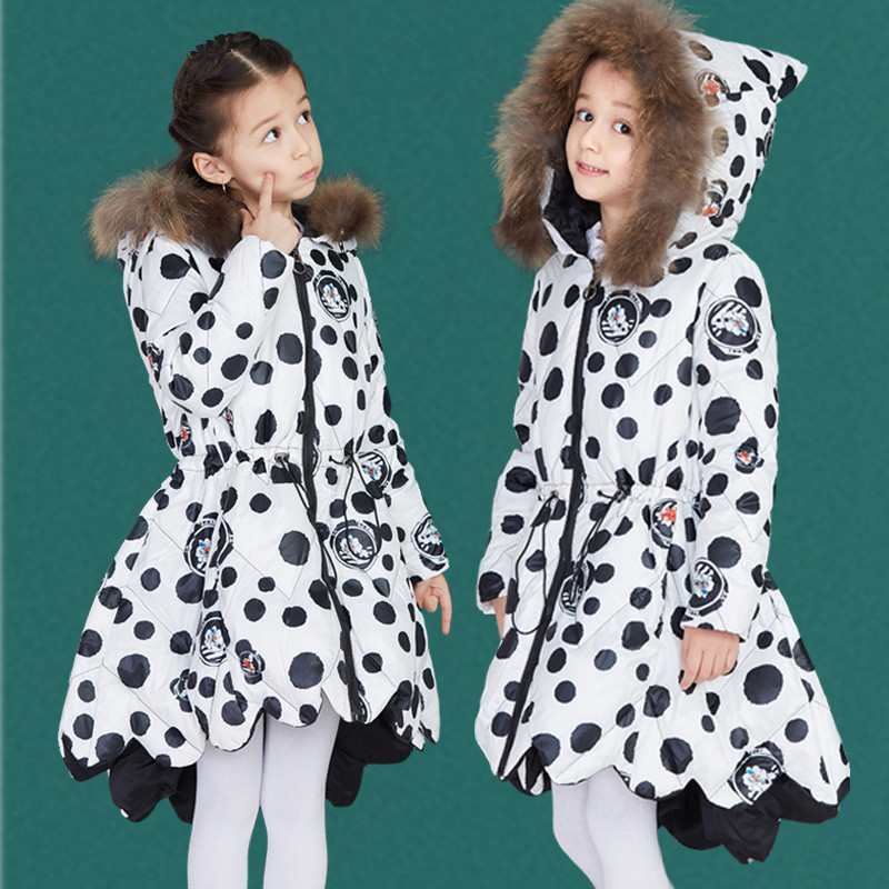 Girl Winter Jacket Parka Warm 5-12Y White Duck Down Thick Windproof Fur Collar Coat Cute Cartoon Print for Kids Winter Clothes все цены