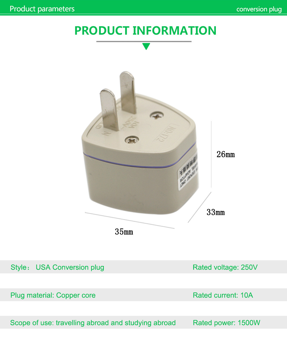 1PC New Arrivals EU UK AU to US Plugs adapter Power Converter Plugs 2 Pin Socket EU to America Travel Charger Adapter Converter (9)