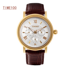 Top Quanlity Brand Men;s Watch Leather Watchband Quartz Watch Original Men Waterproof Business Watch W040