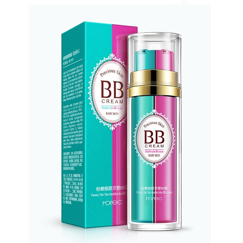 ROREC Face Concealer BB Cream Beauty Makeup Base Cosmetics Double barrelled Cream Liquid Skin CC Cream Moisturizer Oil control in BB CC Creams from Beauty Health