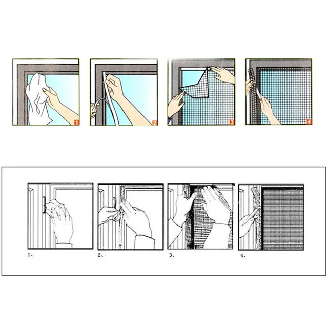Fly Mosquito Window Net Mesh Screen Room Cortinas Mosquito Curtains Net Curtain Protector Fly Screen Inset