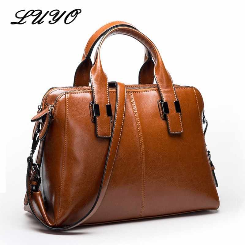 09cade4062 LUYO Real Natural Leather Ladies Luxury HandBags Women Genuine Leather Bags  For Women Totes Messenger Bag