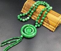 Collar de jade Natural de colgante, Yang verde seco azul anillo circular colgante de jade colgante